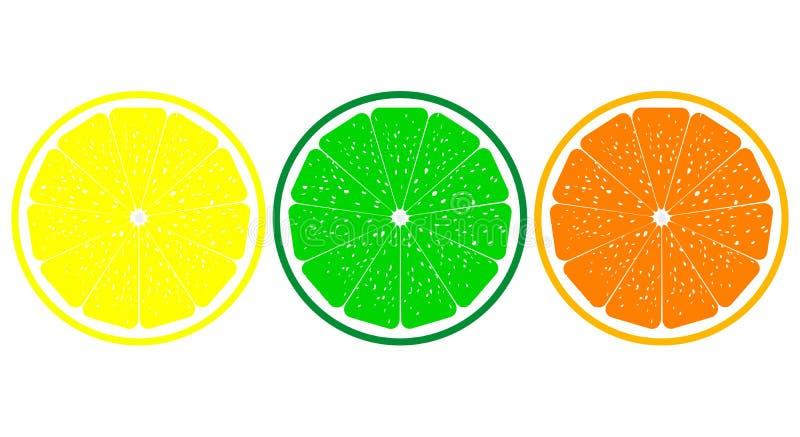 Orange, citron, haut étroit de chaux illustration libre de droits