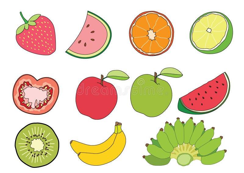 Orange citrontomat Apple röda Apple för vattenmelon - grön Kiwi Strawberry och bananfrukt på den vita bakgrundsillustrationvektor stock illustrationer