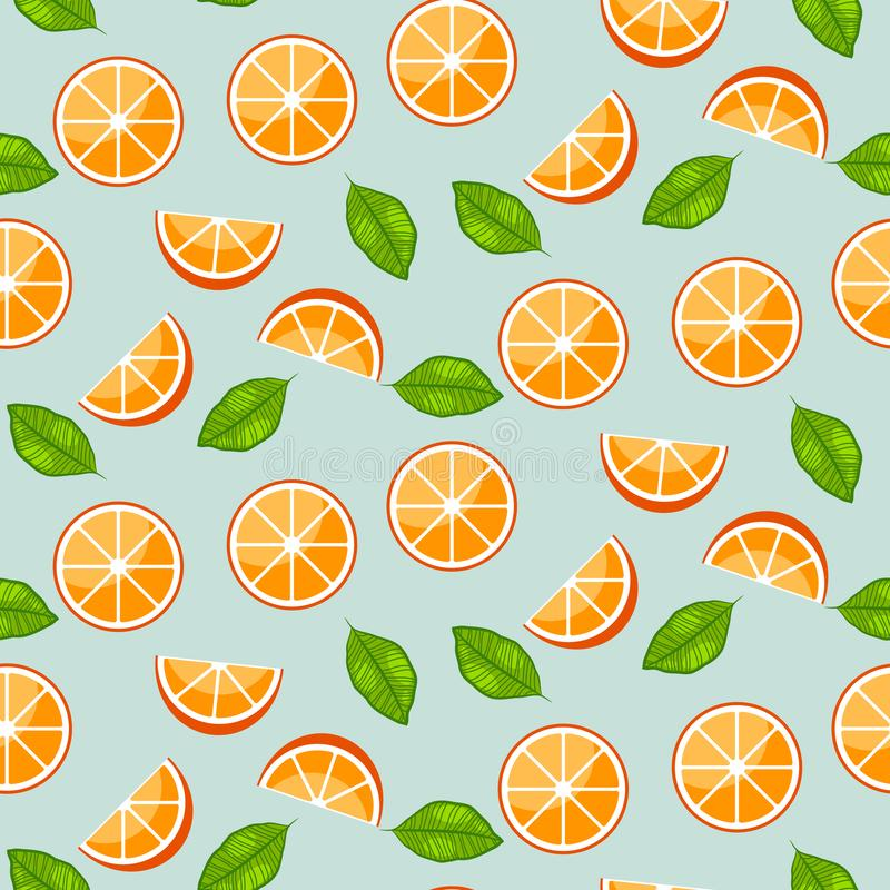 Orange citrus with green leaves on blue background. Juicy seamless vector pattern. royalty free illustration