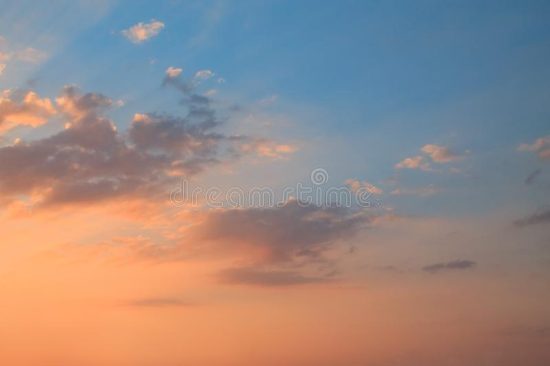 The orange clouds during sunset royalty free stock photos