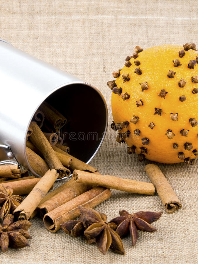 Download Orange With Cloves On Linen Background Stock Image - Image: 17134365