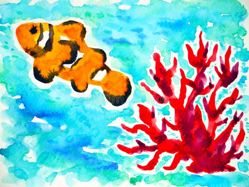 Orange clownfish swimming in sea ocean watercolor painting illustration design hand drawing stock photos