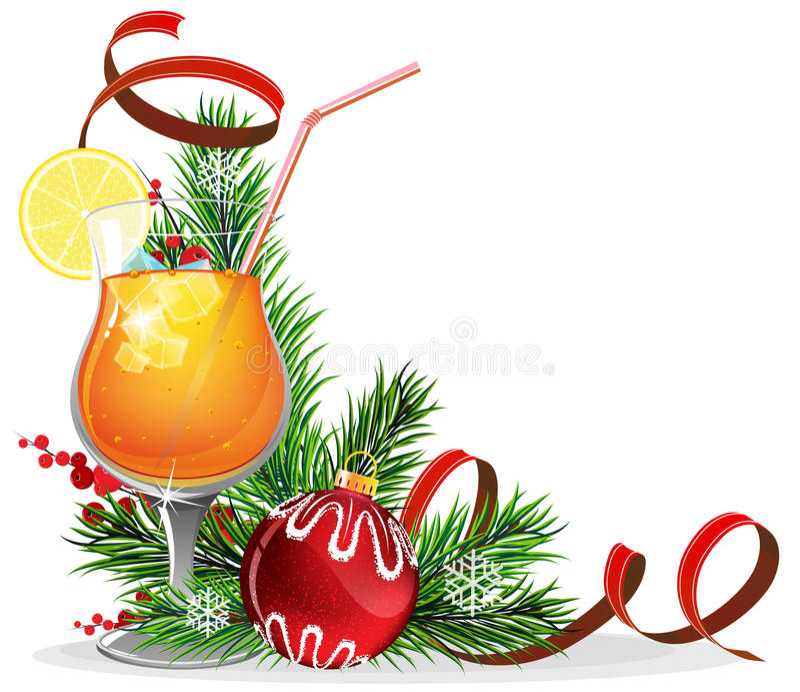 Orange Cocktail, Fichtenzweige und Flitter vektor abbildung