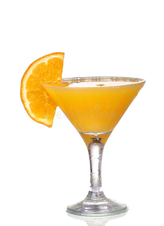 Orange cocktail in a martini glass isolated. On white background stock images