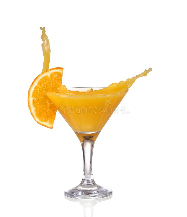 Orange cocktail with splashes. stock image