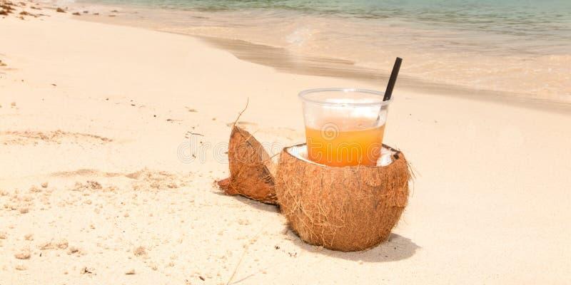 Orange coctailfruktsaft för kokosnöt på den tropiska sandstranden royaltyfria foton