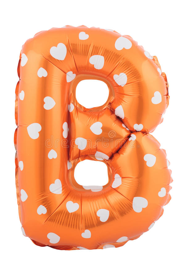 Orange color letter B made of inflatable balloon stock photo