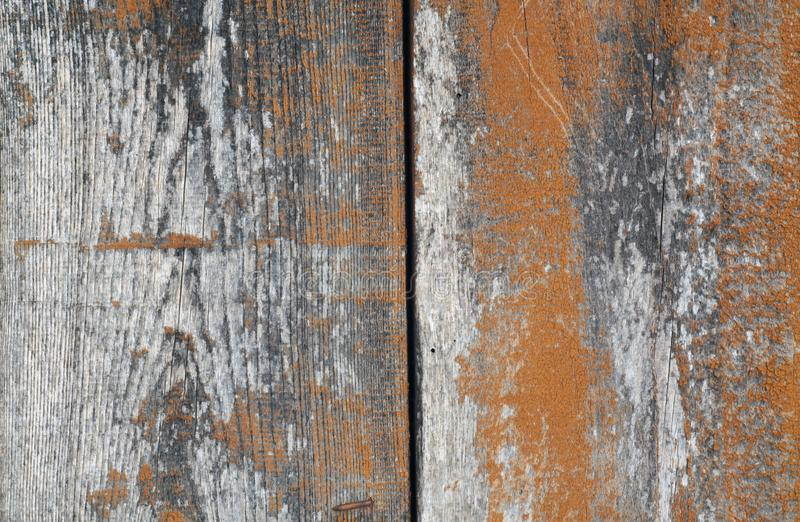 Orange color old grungy wooden planks background stock image