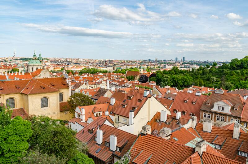 Orange color roof houses in Prague Czech Republic. In Europe royalty free stock photo