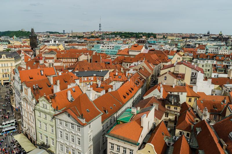 Orange color roof houses in Prague Czech Republic. In Europe stock image