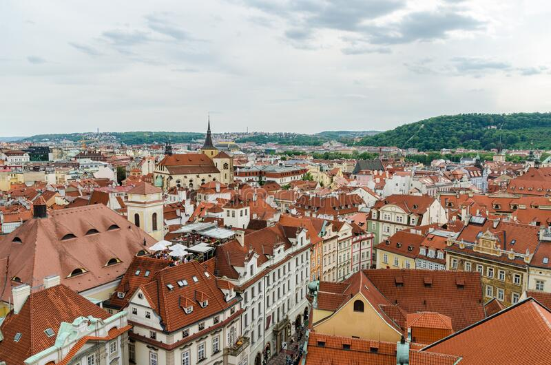Prague, Czech Republic May 15, 2015: Prague, Czech Republic May 15, 2015: Orange color roof houses in Prague Czech Republic. Orange color roof houses in Prague royalty free stock images