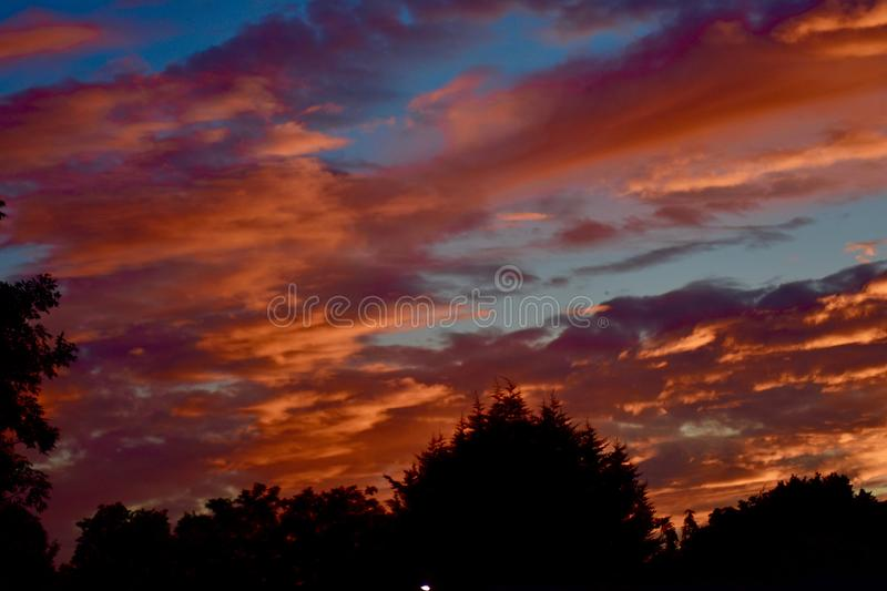 Beautiful sunset sky on a summer`s day royalty free stock image