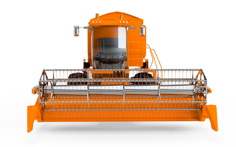 Orange Combine harvester. Isolated on a white background. Front face view vector illustration