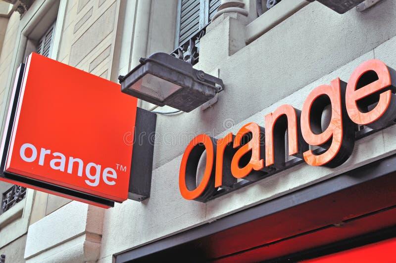 Orange company sign and logo stock photo