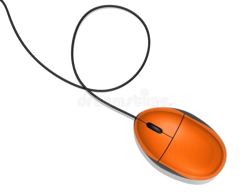 Orange computer mouse. 3D orange computer mouse isolated on white vector illustration