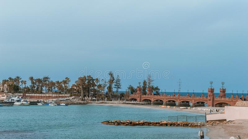 Orange Concrete Bridge Surrounded by Water royalty free stock image