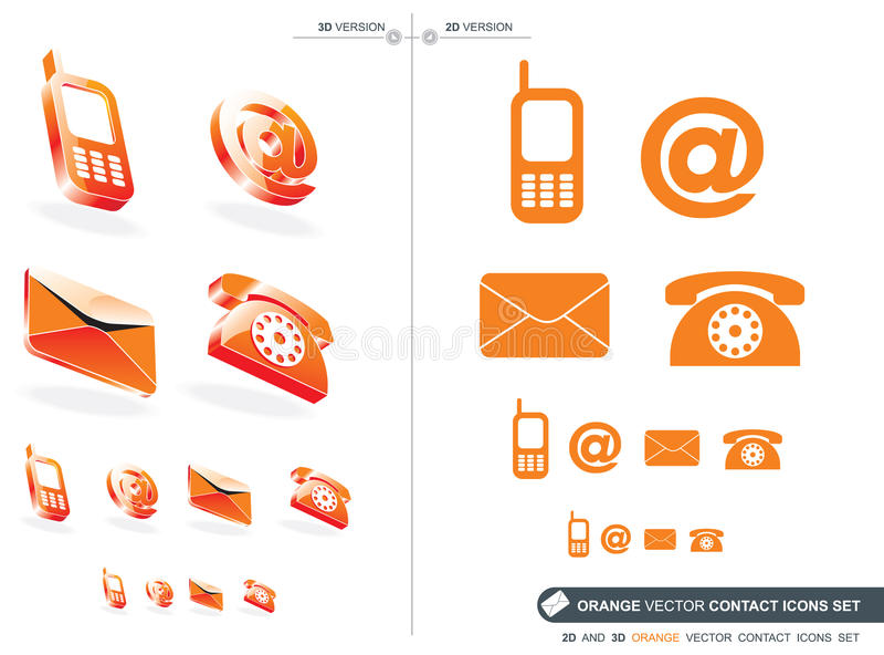 Orange contact icons set stock illustration