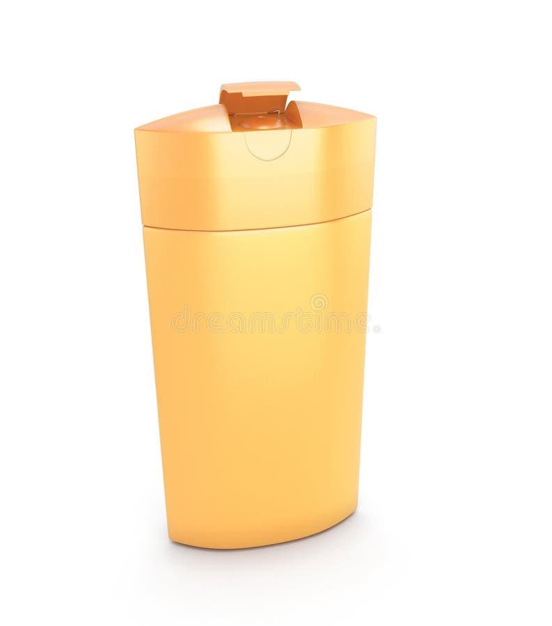 Orange cosmetic packaging, plastic shampoo or shower gel bottle vector illustration