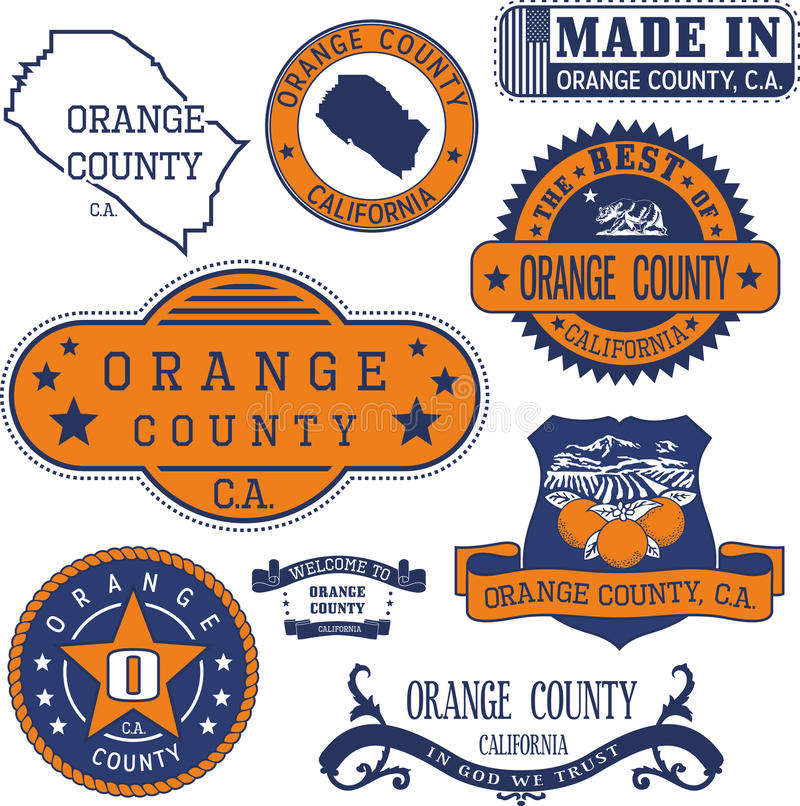 Free Orange County, CA. Set Of Stamps And Signs Royalty Free Stock Photo - 79659555