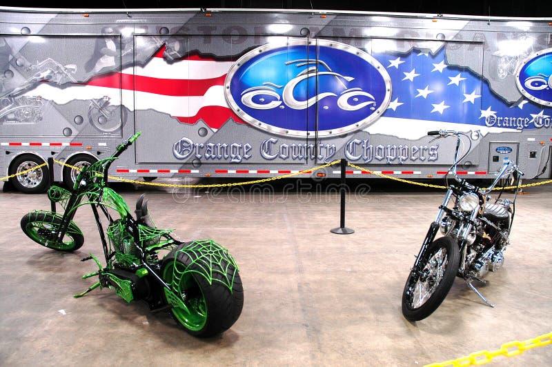 Orange County Choppers. Two custom choppers made by Orange County Choppers stock photo