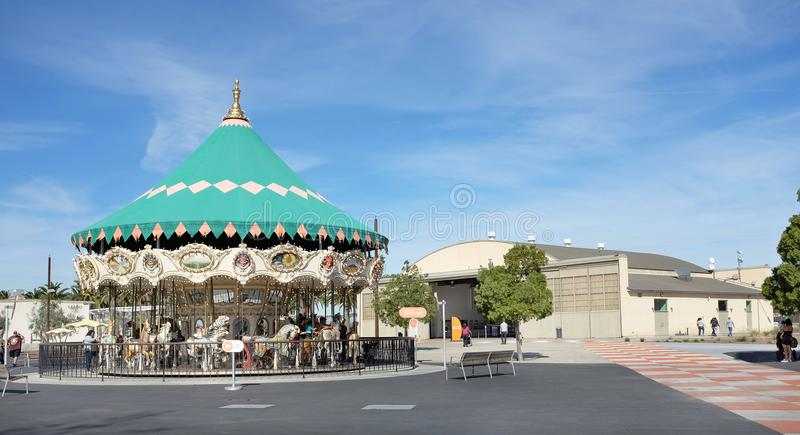 Orange County Great Park Heritage and Aviation Hangar and Carousel. IRVINE, CA - JANUARY 14, 2018: Orange County Great Park Heritage and Aviation Hangar and stock photography