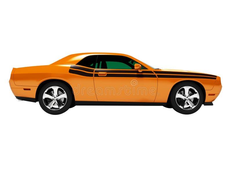 Orange Coupé 3d des Sports übertragen auf weißem Hintergrund keinen Schatten stock abbildung