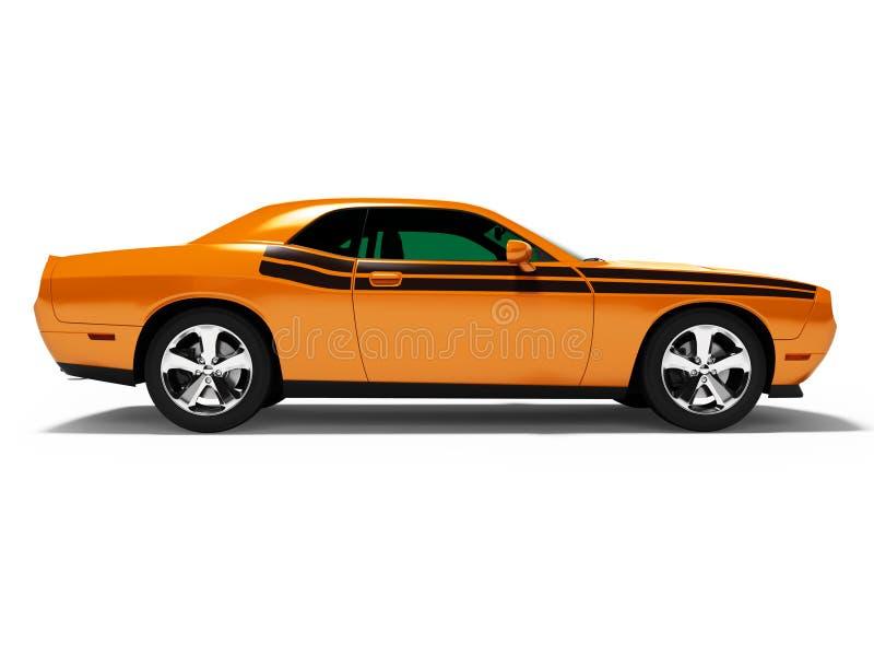 Orange Coupé 3d des Sports übertragen auf weißem Hintergrund mit Schatten stock abbildung