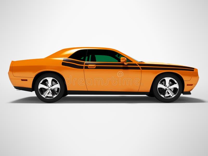 Orange Coupé 3d des Sports auf grauem Hintergrund mit Schatten übertragen stock abbildung