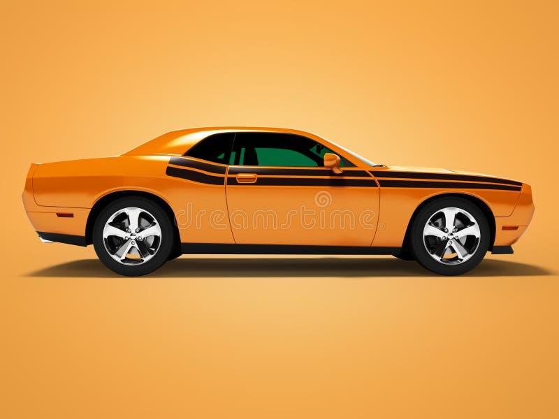Orange Coupé 3d des Sports auf orange Hintergrund mit Schatten übertragen lizenzfreie abbildung