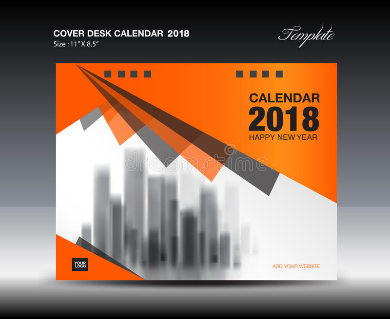 Orange Cover Desk Calendar  Design Flyer Template Ads Boo