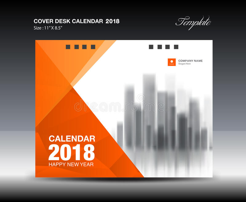 Orange Cover Desk Calendar  Design Flyer Template Ads Stock