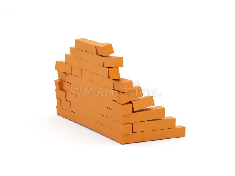 Orange crash brick wall isolated. On white stock illustration