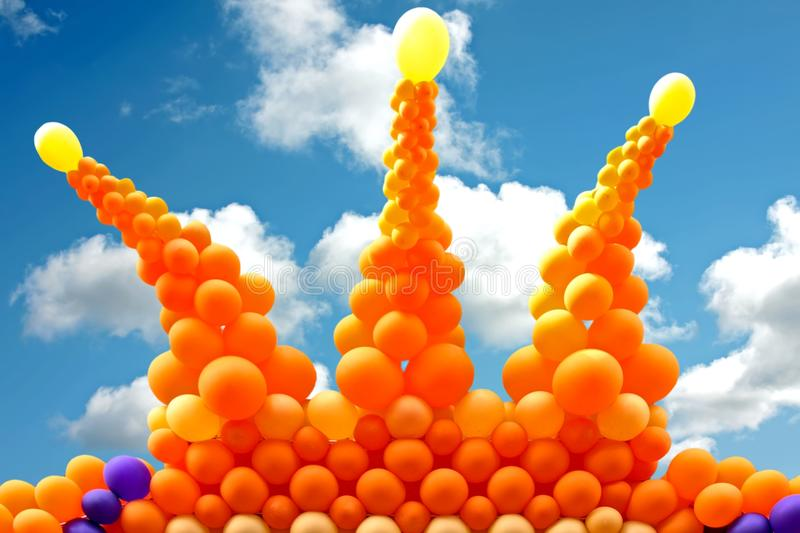 Orange Crown From Balloons Stock Image
