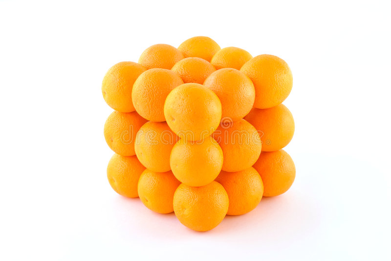 Orange in cube stock photography