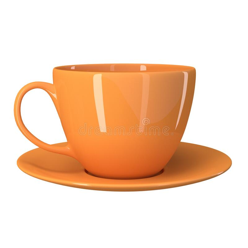 Orange cup with saucer isolated on a white background. 3d image royalty free illustration