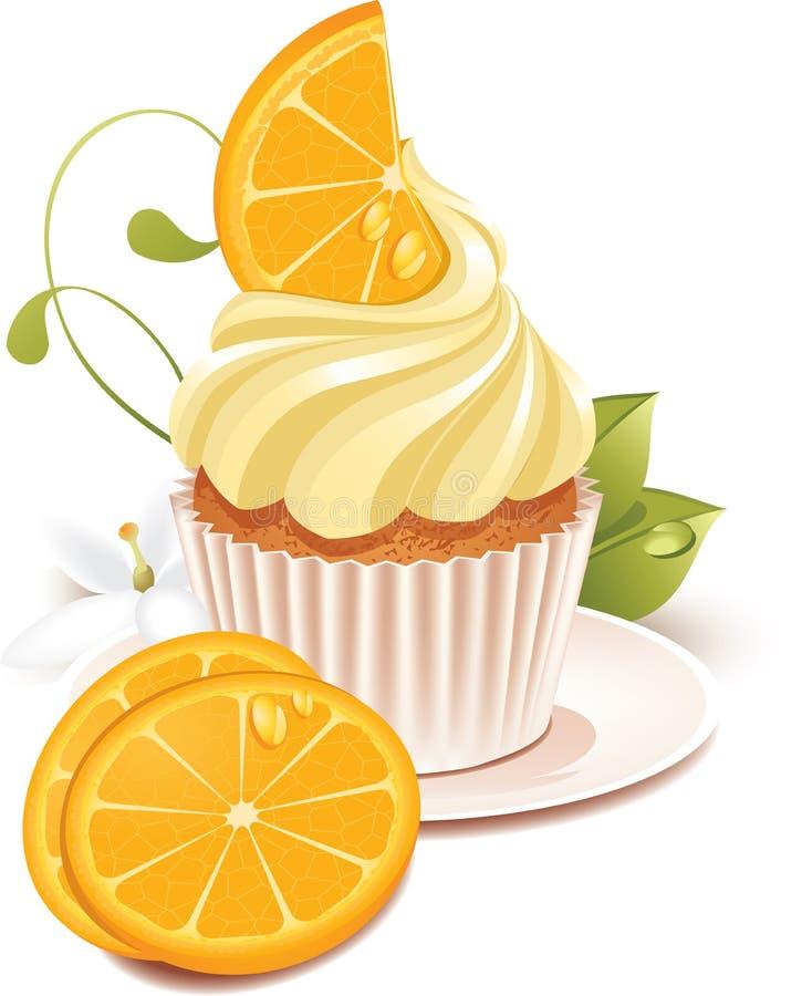 Orange cupcake. Vector illustration of orange cupcake on a plate. Illustration isolated on white background