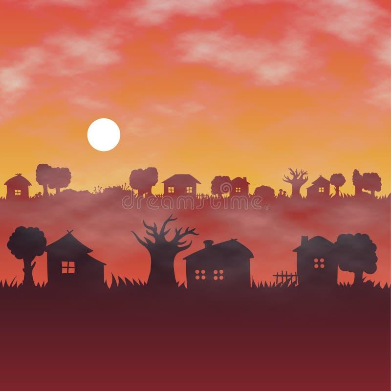 Orange Dämmerungstageslicht, nebelige endlose Landschaft lizenzfreie abbildung