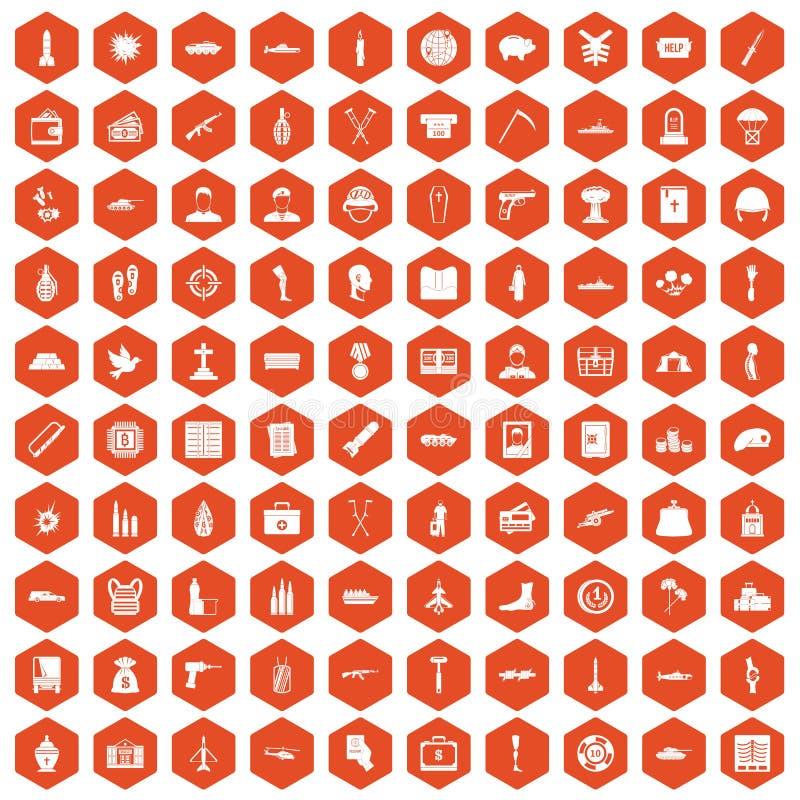 orange d'hexagone de 100 de guerre icônes de crimes illustration stock
