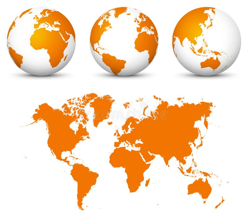 Orange 3D World - Flat Vector Globe Icon Set with Undistorted 2D World Map in Orange Color. royalty free illustration