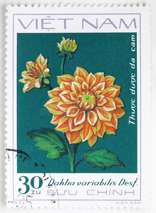 Orange Dahlia, Dahlia serie, circa 1982. MOSCOW, RUSSIA - JULY 25, 2019: Postage stamp printed in Vietnam shows Orange Dahlia, Dahlia serie, circa 1982 stock image