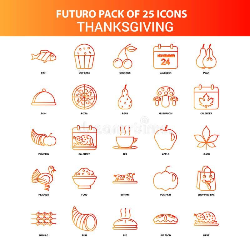 Orange Danksagungs-Ikonen-Satz Futuro 25 stock abbildung