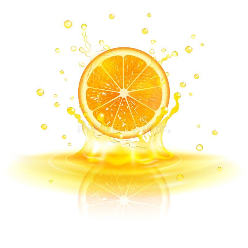 Orange dans une éclaboussure de jus illustration libre de droits