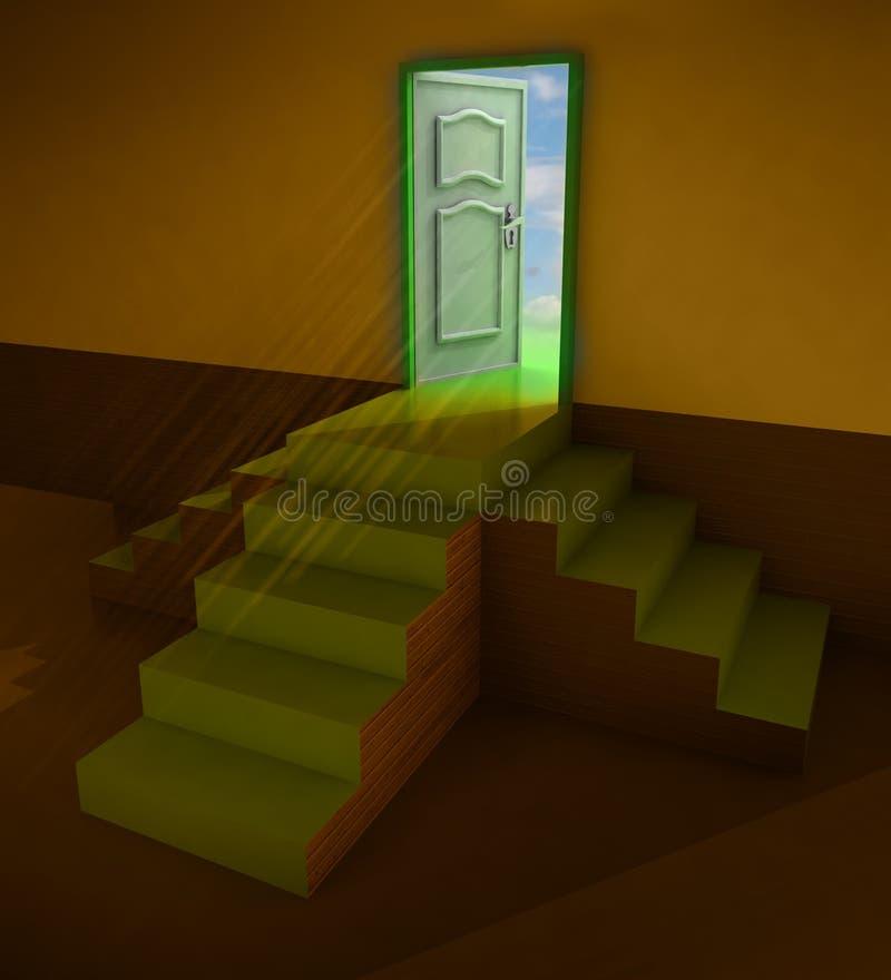 Download Orange Dark Three Staircases Doorway Stock Illustration - Illustration of interior, abstract: 28692403
