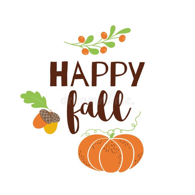Orange de vecteur de bannière écrite par main moderne heureuse de leves de gland de potiron de carte de voeux d'automne d'automne illustration libre de droits