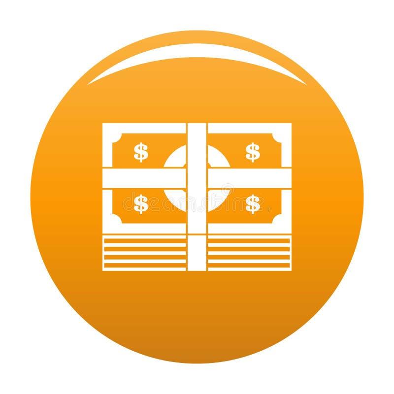 Orange de vecteur d'icône de billet de banque de paquet illustration libre de droits