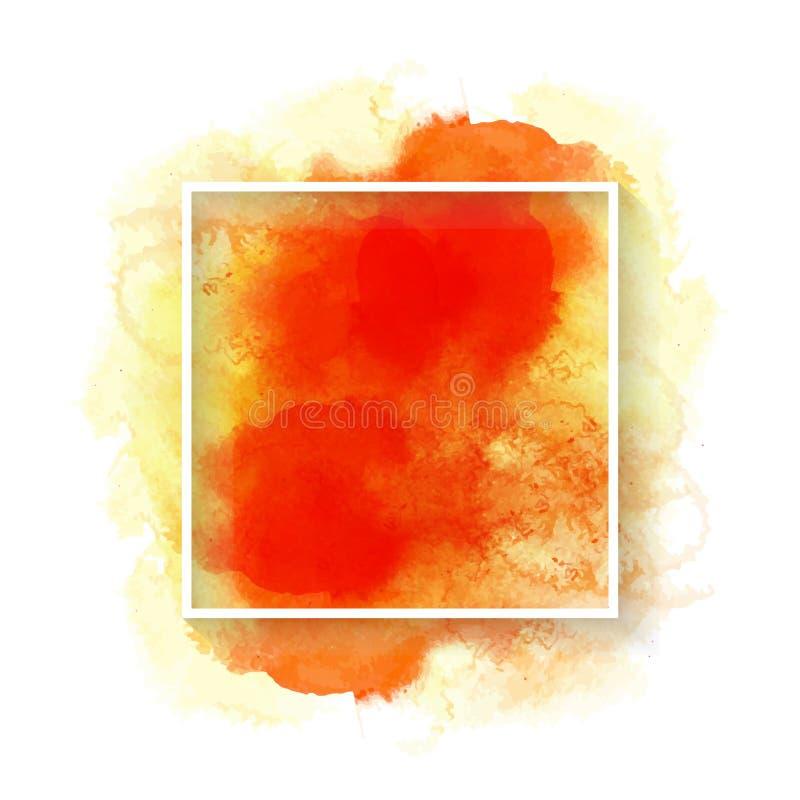 Orange de vecteur et texture jaune d'aquarelle pour le fond abstrait illustration libre de droits