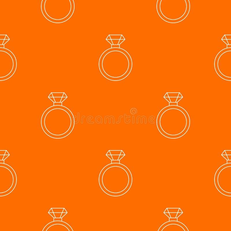 Orange de vecteur de modèle de bague de fiançailles de diamant illustration de vecteur