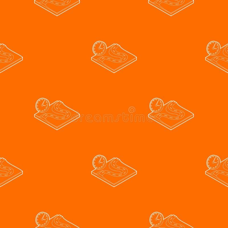Orange de vecteur de modèle de route et d'horloge illustration stock