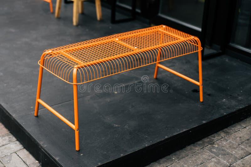 Orange decorative grid bench royalty free stock images