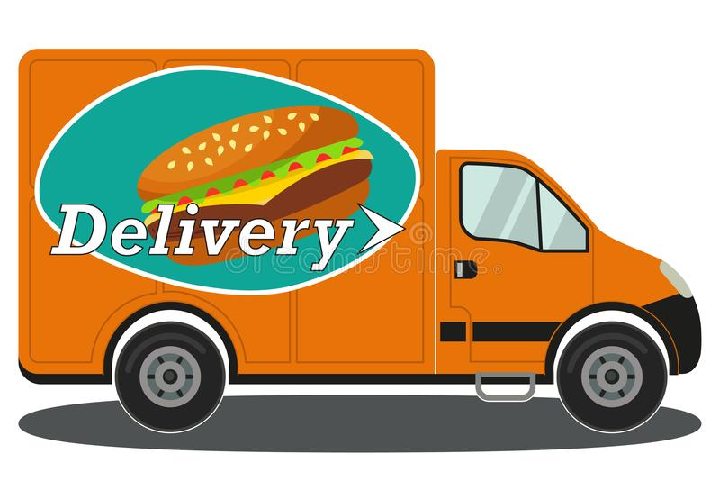 Orange delivery truck side view burger poster stock illustration